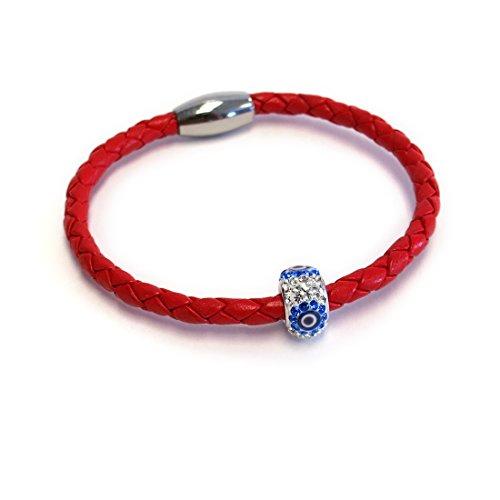 Liza Schwartz Jewelry Evil Eye Premium Leather Bracelet (Red)