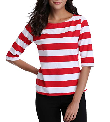 MISS MOLY Women's 3/4 Sleeve Striped Happy Date work Tee T-shirts Blouse Tops (Red Large -