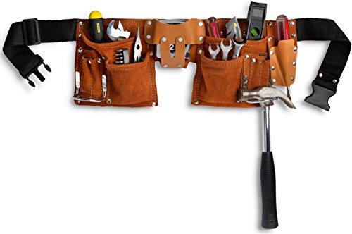 11 Pocket Leather Construction Tool Belt, Work Apron, with Adjustable Poly Web Belt Quick Release (Belt Tool Bag)