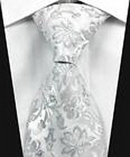 [Dream Pole New luxury Florals Silver White JACQUARD WOVEN 100% Silk Men's Tie Necktie cdc0106] (Martini Costume Halloween)