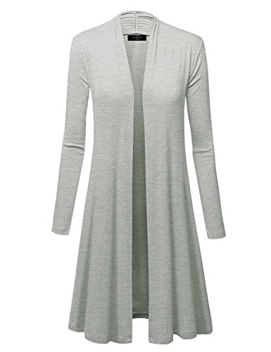 Made By Johnny WSK1048 Womens Solid Long Sleeve Open Front Long Cardigan S Heather_Grey