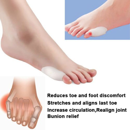 2x Reusable Soft Gel Silicone Unisex Foot Pain Relief Little Toe Finger Last Toe Straightener Toe Spreader Toe Separators Toe Silicone Tailor's Bunion Shield Pad Cushion Foot Care Bunion Corrector Orthosis Use in Day and Night