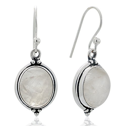 925 Oxidized Sterling Silver Moonstone Gemstone Oval Shaped Vintage Dangle Hook Earrings 1.3