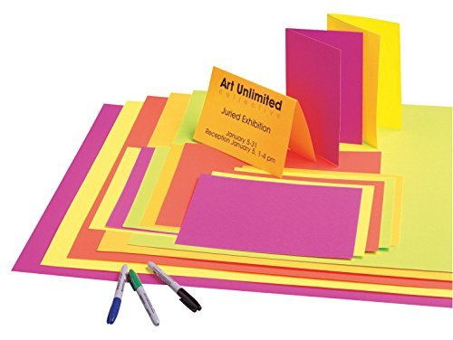 School Smart Fluorescent Poster Board - 22 x 28 - Pack of 50 - Assorted 5 Colors