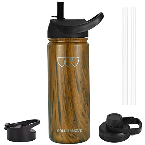 Gold Armour Sports Water Bottle - 14oz,18oz,22oz,32oz,40oz with 3 Lids (Straw Lid), Vacuum Insulated Stainless Steel, Modern Double Walled Flask, Simple Thermo Hydro Mug