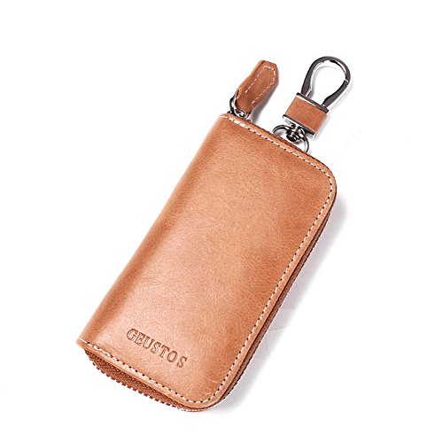 6 Key Holder Wallet (HaloVa Leather Key Case, Car Key Door keys Holder 2 in 1 Wallet with 6 Rings Hanging Buckle 2 Card Slots, Waterproof, durable Large Capacity, Apricot)