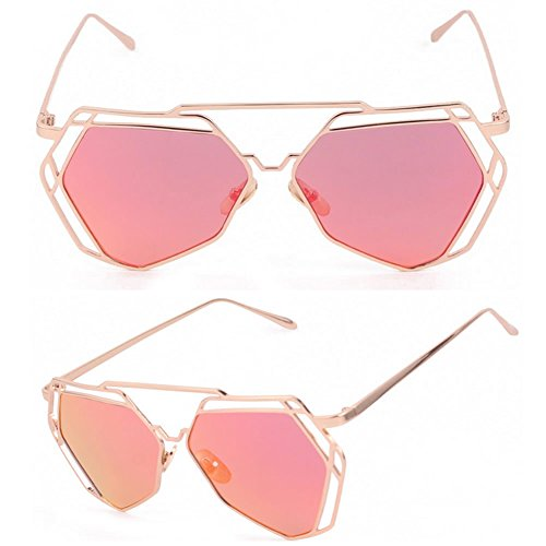 Niceskin Retro Cat Eye Sunglasses Shades for Women, PC and Metal (Gold&Hot - Shades Women For