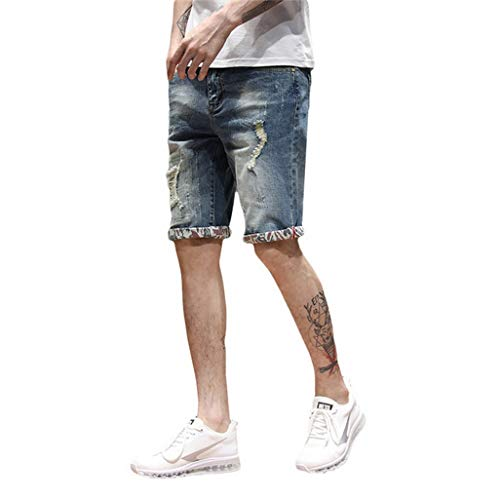 (Fashion Leisure Mens Ripped Short Jeans Clothing Summer Cotton Shorts Breathable Tearing Denim Male(32,G316blue))