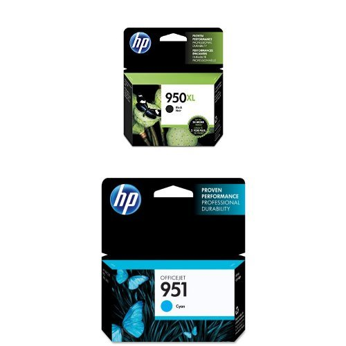 HP 950XL Black High Yield Original Ink Cartridge (CN045AN) and HP 951 Cyan Original Ink Cartridge (CN050AN) Bundle