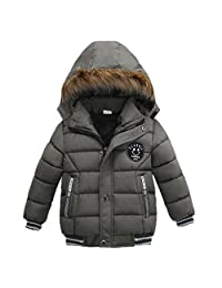 Tenworld Toddler Baby Boys Winter Outerwear Cotton-Padded Hooded Coats Jacket