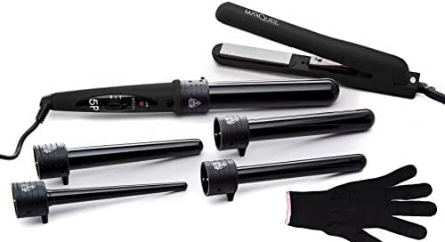Marquee Beauty Professional Salon 8 Piece Flat And Curling Iron Set, 5 Interchangeable Ceramic Tourmaline Barrels, Heat Protectant Glove (Black)