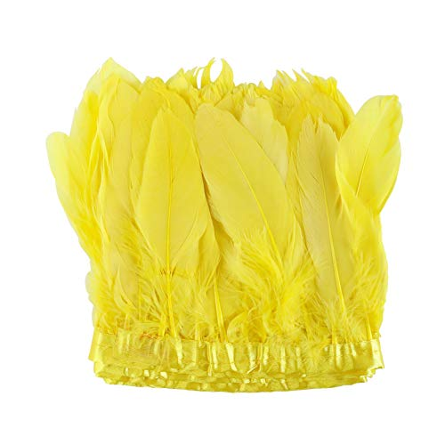 AWAYTR Duck Goose Feather Trim Fringe 2 Yards (Golden Yellow)