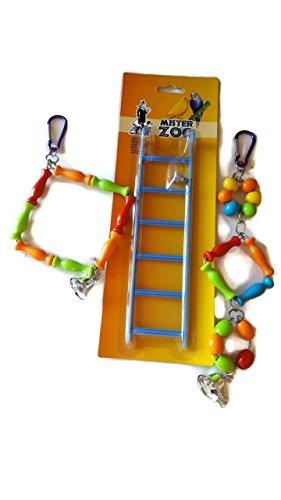 3 Juegos De Loro Parajos Aves con Campana Escalera para la Jaula