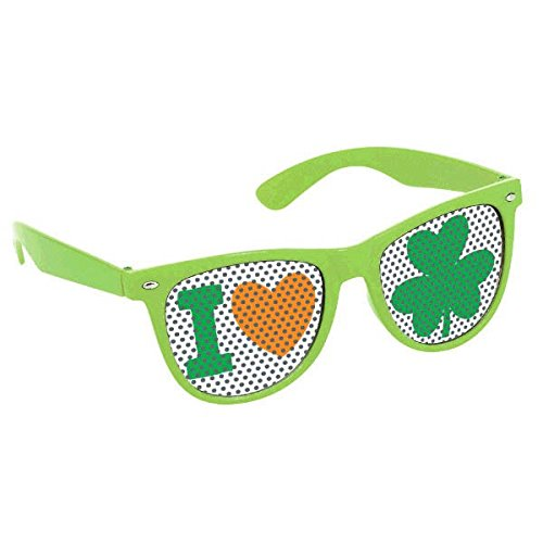 amscan Shamrock Green Printed Glasses
