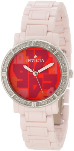 Invicta Women's 10276 Ceramic Diamond Accented Red Dial Pink Watch
