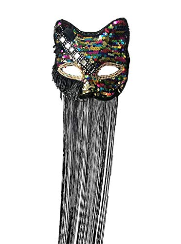 Cat Feather Mask - Handmade Gothic Feather Cat Mask Venetian Masquerade Halloween Christmas Costume Animal Party Mask (Cat)