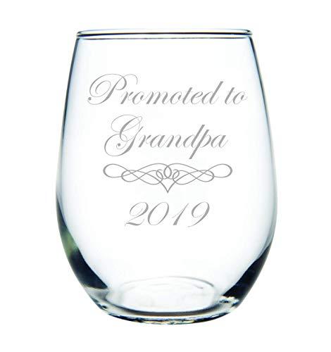 Promoted to Grandpa 2019 stemless wine glass 15 oz. (Best Wine Glasses 2019)