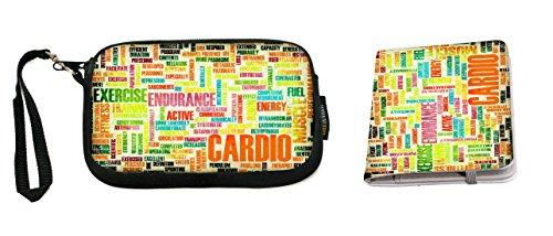 Rikki Knight Cardio Sports Word Play Design Neoprene Clutch Wristlet with Matching Passport Holder (Clutch Sport Muscle)