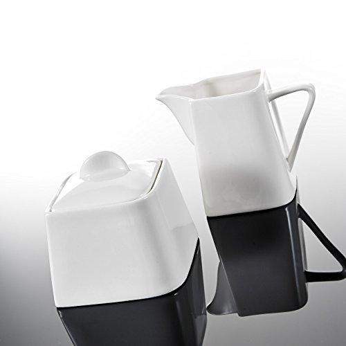 Malacasa, Serie Joesfa, 3-teilig Porzellan Milch und Zucker Set mit Deckel, Milchkännchen Zuckerdose Milch- & Zuckerbehälter Keramik Küchenhelfer