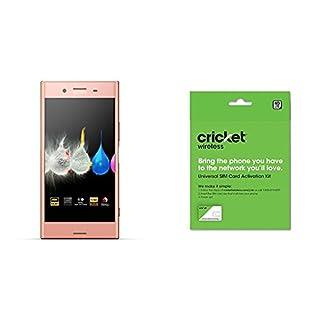"""Sony Xperia XZ Premium - Unlocked Smartphone - 5.5"""", 64GB - Dual SIM - Pink (US Warranty) and Cricket Wireless BYOD Prepaid SIM Card"""