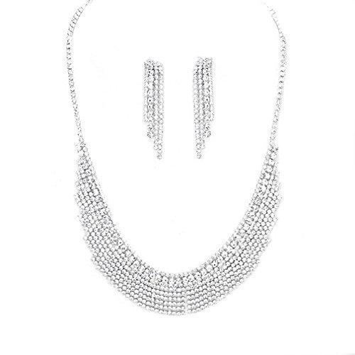 Women Crystal Rhinestone Lace Fringe Affordable Necklace Earring Jewelry Set Bridesmaid Prom Bride (Silver) by uniklook, Affordable wedding Jewelry
