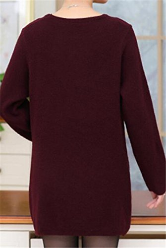 Sweaters Casual Sleeve Long Knit Thicken Dress Cruiize Womens Wine Print Red OC0wxnTq