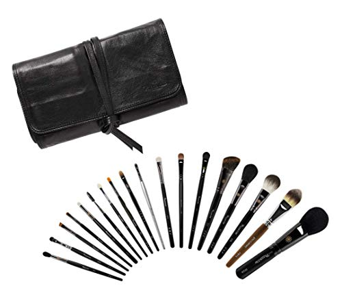 Piccasso Professional black Set 18, Popular Brush Set, Foundation, Eye shadow, Highlighter, Brush case, cover for Makeup