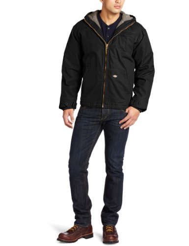 Dickies Men's Big-Tall Sanded Sherpa Lined Hooded Jacket, Black, Large (Sanded Hooded Work Jacket)