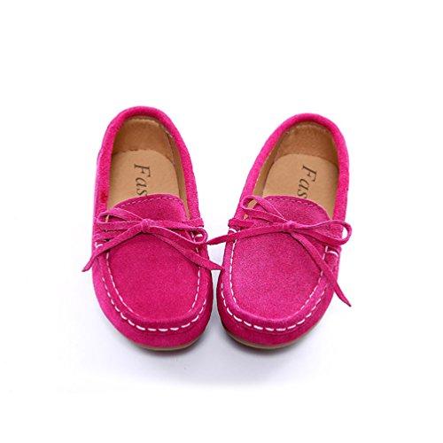 YiJee Jungen Mädchen Bowknot Freizeit Schuhe Weiche Sohle Flache Mokassins Rose