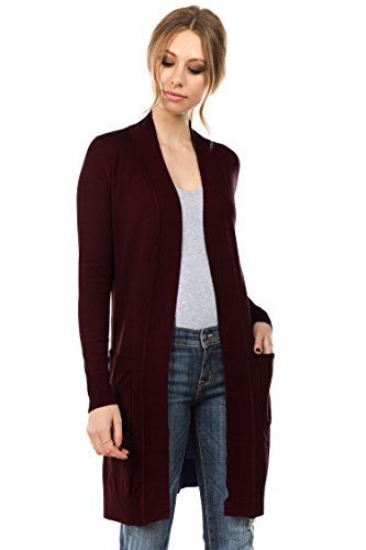 CIELO Women's Long Sleeve Sweater Duster Cardigan Burgundy -