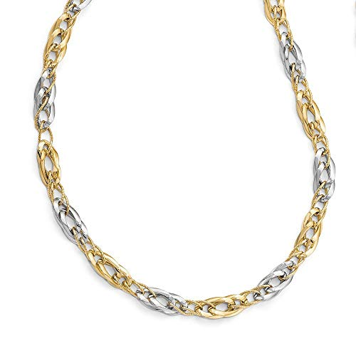 (Roy Rose Jewelry Leslie's 14K Two-Tone Gold Polished and Textured Fancy Link Necklace ~ Length 17.5'')