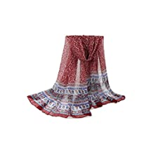 YACUN Women's Large Floral Vintage Scarf Shawl Muslim Head Cloth Red One Size