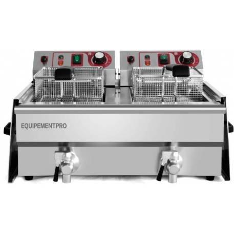 equipementpro - {ef-132 V-2} - Freidora eléctrica 13 + 13 litros/230 volts - Freidora de Galletitas profesional - Freidora doble bandeja - Freidora ...