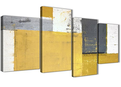 Large Mustard Yellow Gray Abstract Painting Canvas Wall Art Print - Multi 4 Piece - 51in Wide - 4340 Wallfillers (Gray Wall Art Yellow And Canvas)