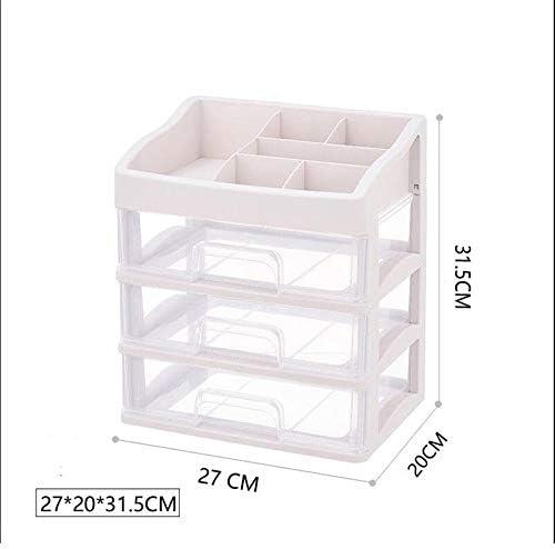 LFOZ 大容量引き出し型化粧品収納ボックス家庭用デスクトップ防塵スキンケアラックアクリルサイズピンク (Size : S)