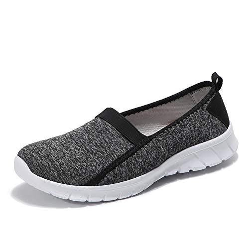 HQUEC WomensLightweightWalkingShoes Casual Slip On Performance Sneakers Memory Foam (Black/E5 36)
