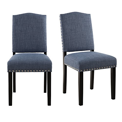 Set of 2 Mod Urban Style Solid Wood Nailhead Fabric Padded Parson Chair, Light Blue