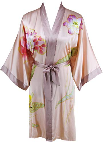 Ledamon Women's 100% Silk Kimono Short Robe - Classic Handpainted Enclosed in an Elegant Gift Box (Light Pink) (Hand Painted Silk Jackets)