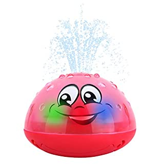 Kim Player Spray Water Toy, Infant Bath Toys for Infant Bathtime Fun, Baby Bath Toys for Toddler Kids Floating Induction Sprinkler Toys with Soft LED Light Best Gift for Boys & Girls Red