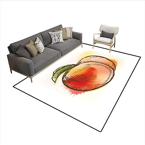 (Carpet,Fresh Fruit Full of Vitamins and Nutrition Food Sketch Color Splatters,Customize Rug Pad,Scarlet Pale Orange Green)