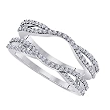 DreamJewels 0.50 Ctw 14K White Gold Plated Round Cut White CZ Diamond Alloy Ladies Anniversary Wedding Band Enhancer Guard Double Chevron Ring