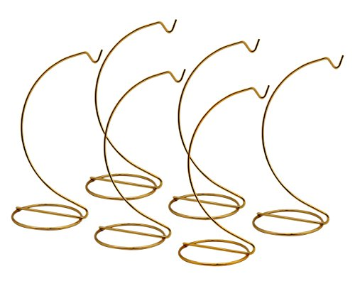 BANBERRY DESIGNS Gold Ornament Stands - Set of 6 Brass Metal Christmas Ornament Hangers - 7-Inch Stand - Terrarium Display