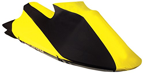 Leader Accessories Jet Ski PWC Cover 600D SD Polyester Trailerable Personal Watercraft Cover Contour Fits SeaDoo (1996,1998-2002 GTX,1997-98,2000 GTI) Black/Yellow
