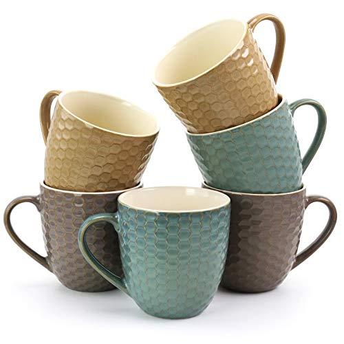 Set Mug Assorted - Elama EL Honeysuckle 6-Piece 15 oz. Mug Set, Assorted Colors, 15 ounce, Multicolor