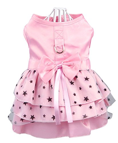 (Hdwk&Hped Dog Dress with Leash Ring, Princess Multi-Layer Pleated Skirt Pentagram Bow Pet Dress for Small Dog Puppy Cat Pink #5)