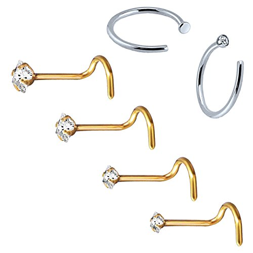 BodyJ4You 6PC Nose Screw Stud Hoop Ring 20G Goldtone Steel CZ Nostril Girl Women Piercing Jewelry