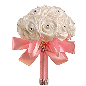 Wedding Bridal Bouquet,Wedding Holding Bouquet with Artificial Roses Pearl Ribbon Perfect for Church,Party Yamally 102