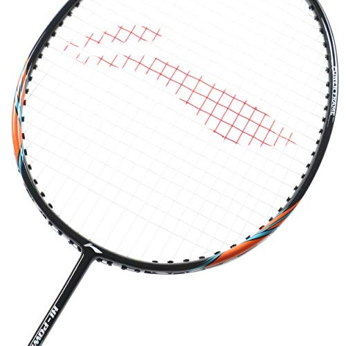 Li Ning Badminton Racket Power X Series Player Edition Light Weight Carbon Graphite Shaft 80 + GMS with Full Carrying Bag Cover (Power X7 - Black/Orange)