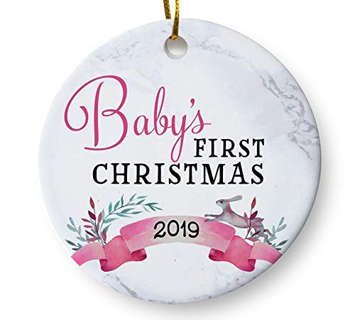 Baby's First Christmas Whimsical Ornament 2019, Girls Baby Shower Gift, Holiday Keepsake Gift for Baby Parents 3