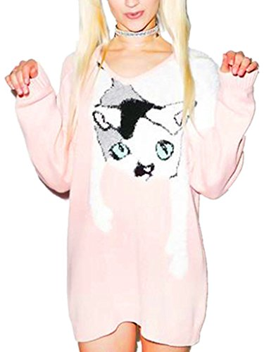 Persun Women Pink Cat Print Mohair Panel Knit Sweater